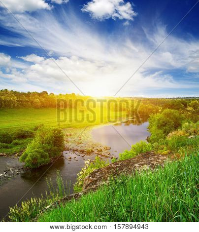 landscape with the river on sun