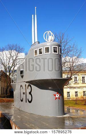 NIZHNY NOVGOROD RUSSIA - APRIL 23 2015: View of  submarine S-13 shown in Kremlin in Nizhny Novgorod Russia. Popular touristic landmark.