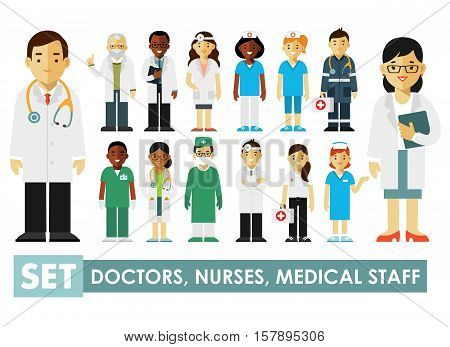 Practitioner young doctors man and woman standing. Medical staff.