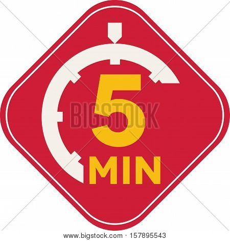 Icon of five minutes square time symbol fast delivery