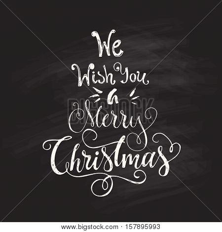 We Wish You A Merry Christmas - unique handdrawn design element for Christmas card, New Year poster. Vector art.