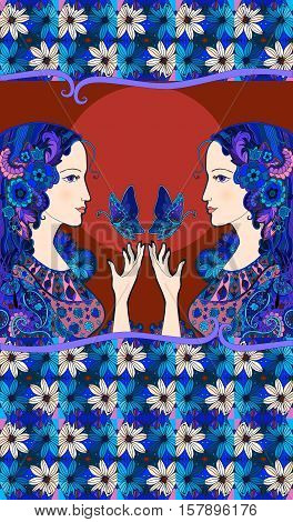 Chocolate packaging design. Two beautiful girl with butterflies and pattern of daisies - 1.