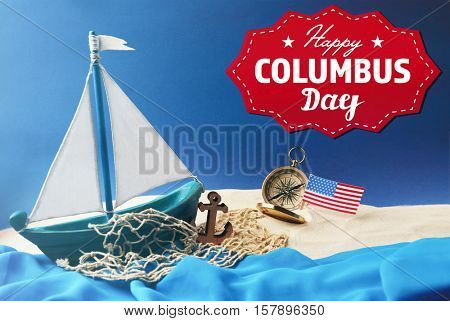 Text HAPPY COLUMBUS DAY with wooden boat and net on blue background. National holiday concept.