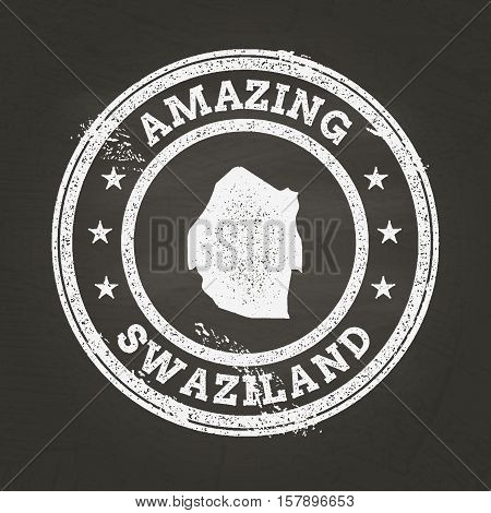 White Chalk Texture Vintage Stamp With Kingdom Of Swaziland Map On A School Blackboard. Grunge Rubbe
