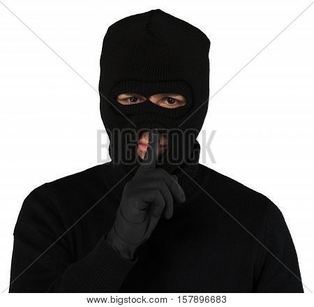 Portrait of a Thief with Balaclava with Finger on Lips