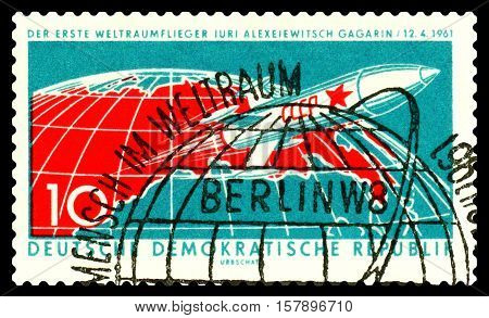 STAVROPOL RUSSIA - November 21 2016: a stamp printed by GDR shows the first astronaut Jury Gagarin circa 1961