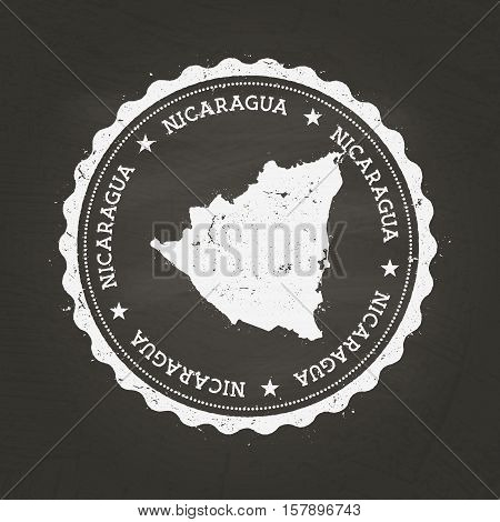 White Chalk Texture Rubber Stamp With Republic Of Nicaragua Map On A School Blackboard. Grunge Rubbe