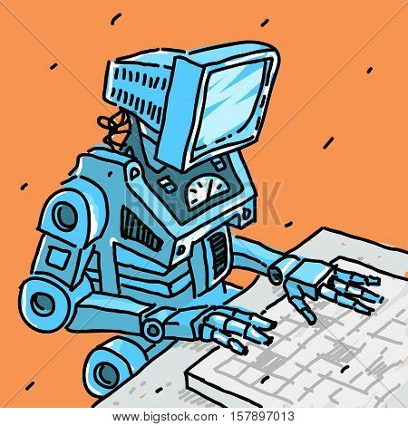 Robot and computer vector illustration eps 8 file format