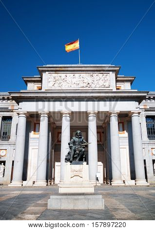 Statue Of Diego Velazquez Is Beside The Museo Del Prado, Madrid