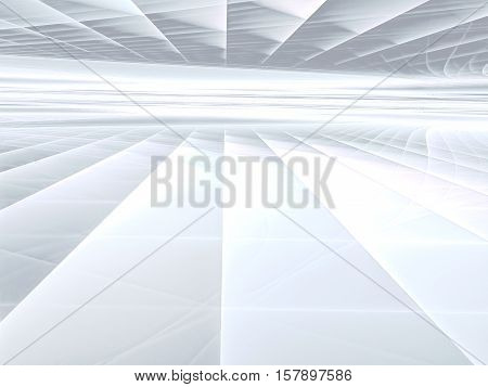 Abstract tech background -  computer-generated image. Fractal geometry: glossy surface and straight lines stretches to horizon. Technology or sci-fi backdrop.