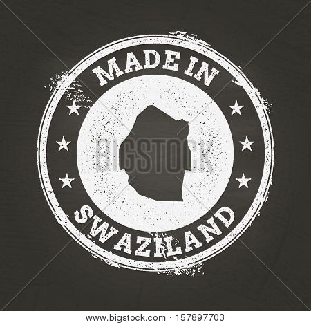 White Chalk Texture Made In Stamp With Kingdom Of Swaziland Map On A School Blackboard. Grunge Rubbe