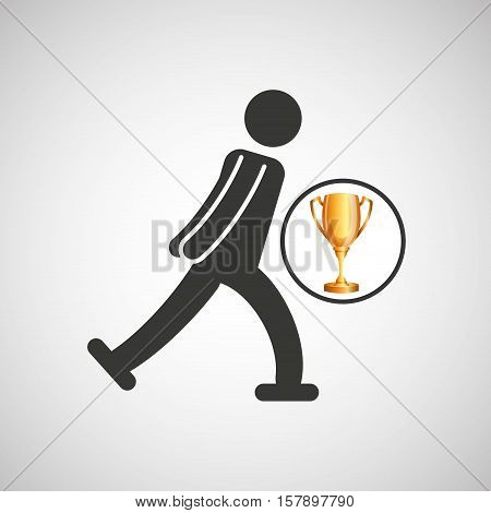 silhouette man ice skater athlete trophy vector illustration eps 10