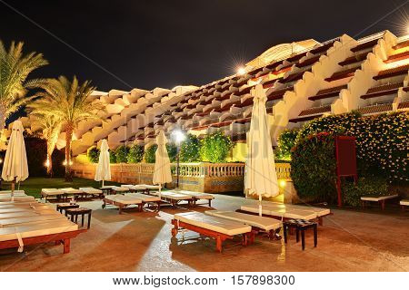 Building of the luxury hotel in night illumination Sharm el Sheikh Egypt