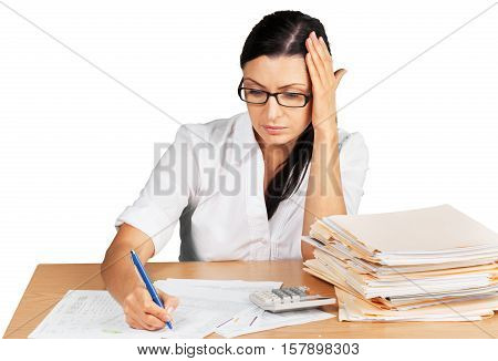 Portrait of a Tired Businesswoman with Financial Figures