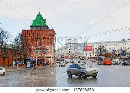 NIZHNY NOVGOROD RUSSIA - APRIL 23 2015: View of Kremlin in Nizhny Novgorod Russia. Popular touristic landmark.
