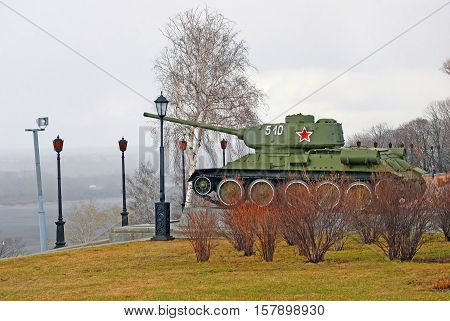 NIZHNY NOVGOROD RUSSIA - APRIL 23 2015: View of a tank shown in Kremlin in Nizhny Novgorod Russia. Popular touristic landmark.