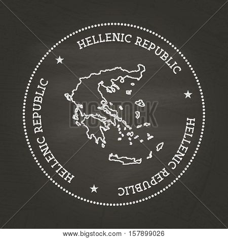 White Chalk Texture Vintage Seal With Hellenic Republic Map On A School Blackboard. Grunge Rubber Se
