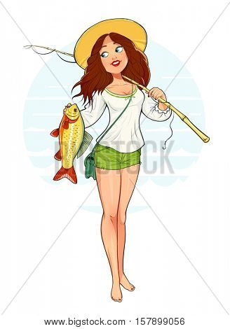 Beautiful fisher girl with fish and rod raster. Isolated white background. Woman fishing. Lady catch. Ladies hobby. Fisherman tackle illustration