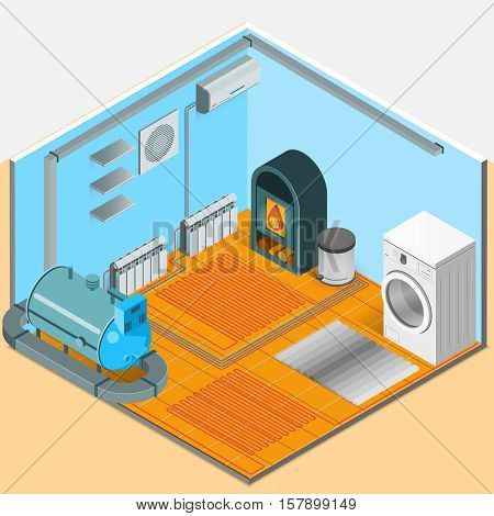 Heating cooling system interior isometric template of bathroom with colorful elements in flat style isolated vector illustration