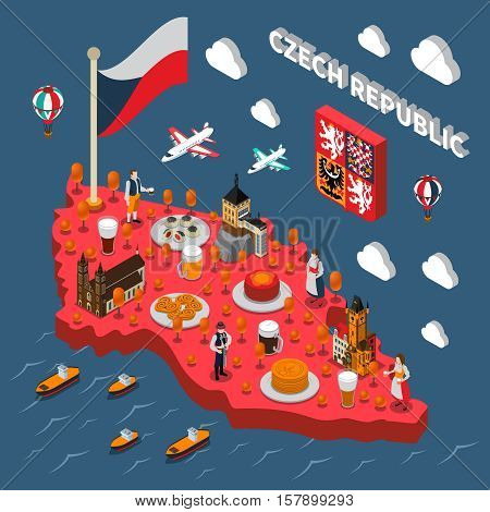 Czech republic isometric map for travelers with typical national food beer and astronomical clock tower vector illustration