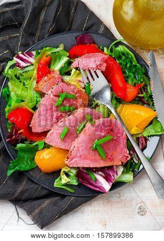 Seared Tuna Steaks with Greens. selective focus