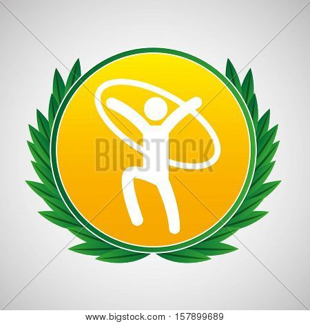 artistic gymnastic ring symbol label laurel wreaths vector illustration eps 10