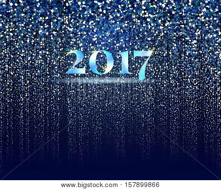 New year 2017 abstract background. New year snowfall on blue background. Particles design. Vector illustration.