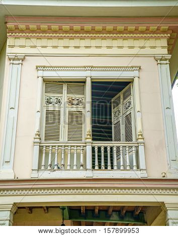 Old 19th century balcony, at a National Park in Guayaquil, Ecuador