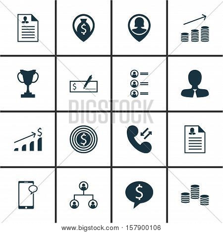 Set Of Management Icons On Bank Payment, Messaging And Coins Growth Topics. Editable Vector Illustra