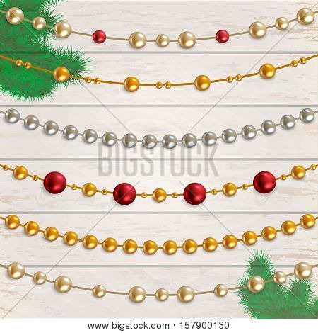 Garland beads vector set. Collection of beads garland
