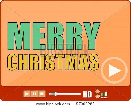Flat Design Button. Merry Christmas Words On Media Player
