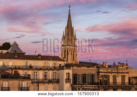St. Anne Church in Montpellier at sunset. Montpellier Occitanie France.