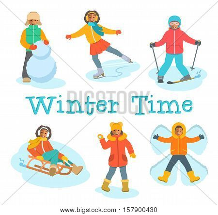 African kids play snow. Children in warm clothes play winter outdoor games. Boy makes snowman, snow angel, skiing, girl skating on ice, playing snowballs, slides on sled. Vector cartoon