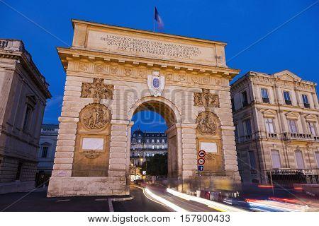 Porte du Peyrou - triumphal arch in Montpellier. Montpellier Occitanie France.