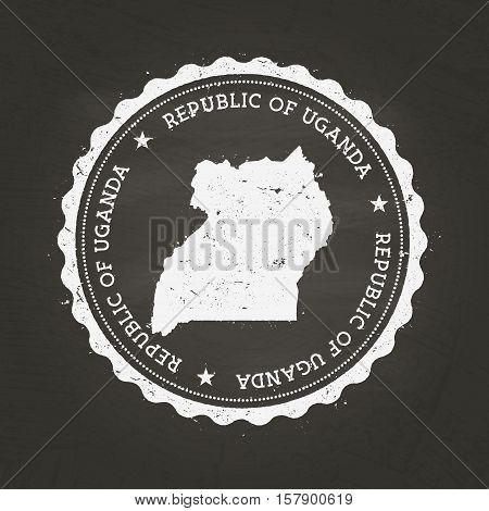 White Chalk Texture Rubber Stamp With Republic Of Uganda Map On A School Blackboard. Grunge Rubber S