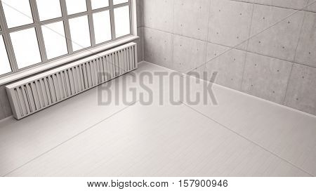 Empty room in loft with birch wood parquet floor (3D Rendering)
