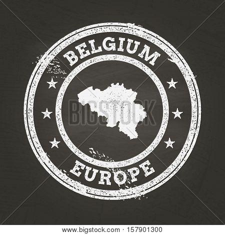 White Chalk Texture Grunge Stamp With Kingdom Of Belgium Map On A School Blackboard. Grunge Rubber S
