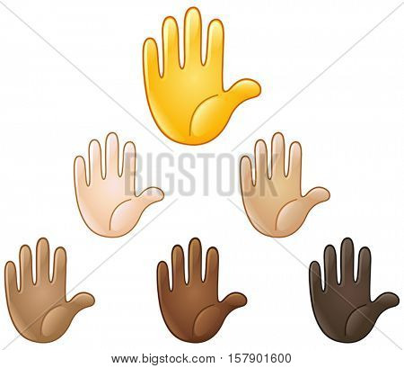 Raised hand of various skin tones. Stop or high five sign.