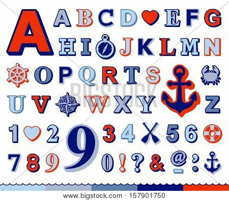 Complete marine alphabet and number set in upper case design with red and blue font and a ships wheel anchor crab compass preserver and heart nautical icons vector illustration