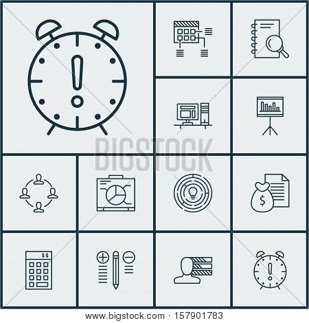 Set Of Project Management Icons On Time Management, Decision Making And Presentation Topics. Editabl