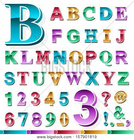 Complete set of metallic gradient colored alphabet and numbers in upper case font with various punctuation marks isolated on white for design elements vector illustration