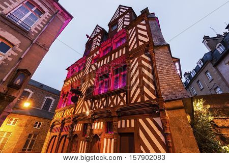 Old architecture in Rennes. Rennes Brittany France