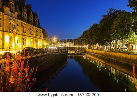 Quimper architecture along the river. Quimper Brittany France.