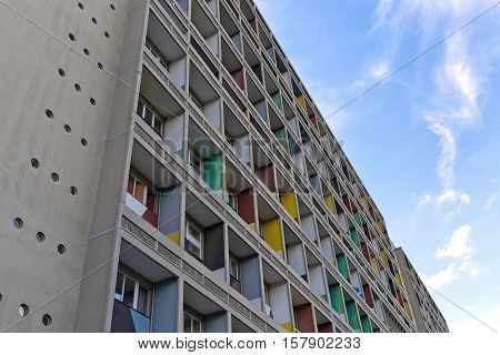 BERLIN GERMANY - JULY 2014: The Corbusier Haus was designed by Le Corbusier in 1957 following his concept of Unite d'Habitation (Housing Unit)
