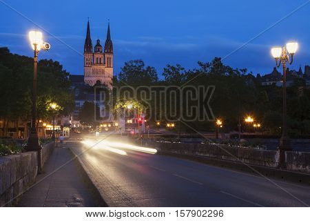 Angers Cathedral at night. Angers Pays de la Loire France.
