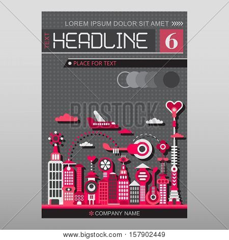 Cityscape with modern buildings vector illustration. Multipurpose brochure flyer design layout template with place for text. Mock-up size A4 front page.
