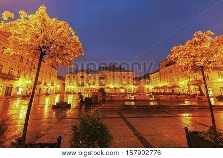 Rain on Market Square in Piotrkow Trybunalski. Piotrkow Trybunalski Lodz Poland.