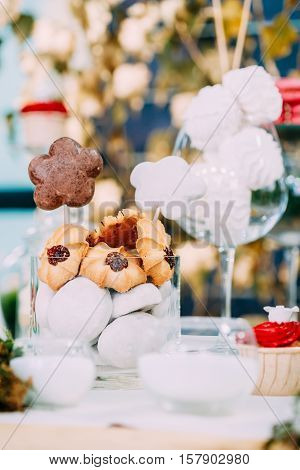 Dessert Sweet Tasty Marshmallow And Cookies In Candy Bar On Table. Delicious Sweet Buffet. Wedding Holiday Decorations