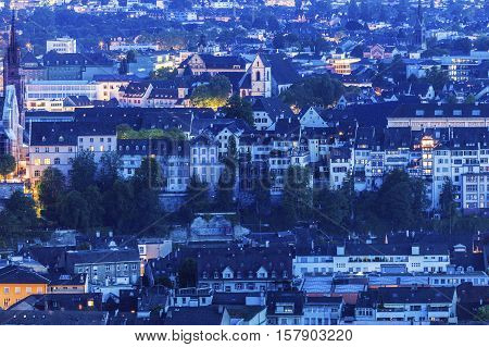 Aerial panorama of Basel. Basel Basel-Stadt Switzerland.