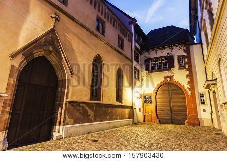 Basel old town street. Basel Basel-Stadt Switzerland.